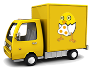 Eggshells delivery truck